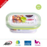600ml Rectangular BPA FREE, FDA, LFGB, DGCCRF, Non-stick, Silicone food container, Portable Travel bowl, Foldable lunch box