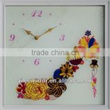Flower wall clock solar powered outdoor clock