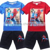wholesale Summer Boys spiderman Clothing set Children spiderman Suits spiderman T-shirt + Pants Kids Short Sleeve Clothes