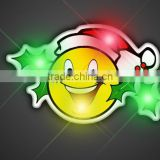 Happy Smile Face LED Flashlight Plastic Lapel Pin, Custom Brooch Pin Wholesaler