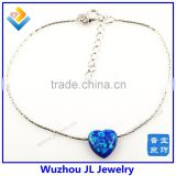 925 sterling silver bamboo chain bracleet with heart shape pendant synthetic opal bracelet