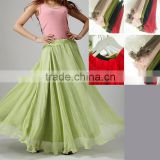 adults mint green Floor Length Long Skirt, fashional ladies chiffon skirt suits, adjusted waist Maxi Skirt