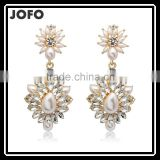 Newly Special Hot Sale Imitation Pearl Crystal Flowers Earrings Drop