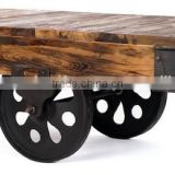 Vintage Industrial Cart Coffee Table with cast iron wheels