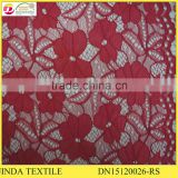 Best Selling High Quality 100%Polyester Red Mesh Lace Fabric For Girls Clothing