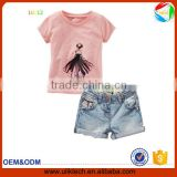 2016 new patterns of baby girls clothing set two pieces cotton tshirt and pants dresses high quality and low price kids clothing