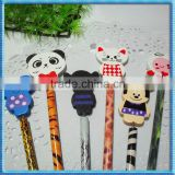 Cute cartoon design rubber animal pencil topper