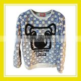 2016 Fashion Products Bros Baby Schnauzer Head Women Printed Long Sleeve Blue White Dotted Fleece Sweater