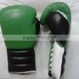 Boxing loves with laces Winning Professional Boxing Gloves Green white and black