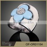 jinhua jewelry fashion rings silver jewelry acrylic blue Clover Diamond Rings