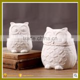 night owl animal ceramic craft porcelain jar for storage