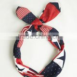 4th of July Girls Outfits American National Flag Printed Rabbit Ear Headband Hair Headband