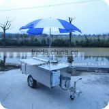 2013 HOT!!! Mobile Hot Dog Food Kiosk Cart with Umbrella /Car Wheels Towed By Car XR-HD200 B