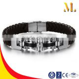 NSSL005 Heavy machinery style personality new listing Korean men's black siliconeainless steel bracelets