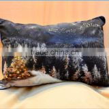 hot sale 100% cotton fancy beautiful oil painting printed Christmas tree design sofa home decor cushion pillow case