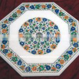 Handcrafted Stone Inlay Dining Table Top With Pietra Dura Art