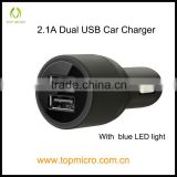 Wholesale Intelligent 2.1A Dual USB with Blue LED Light Phone Car Charger