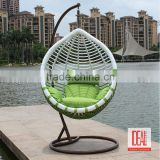Single seat design coffee shop outdoor decoration hanging furniture rattan wicker swing chair
