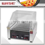 WISE Commercial 11 Rolls Electric Stainless Steel Hot Dog Roller Grill With Sneeze Guard