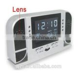 1280x720 30fps 5MP IR led night vision multifunction table clock hidden camera DVR with clear screen