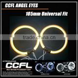 Yellow CCFL Angel Eye for Cars, Full Circle Headlight Universal Halo Rings