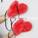 Factory directly custom watermelon color string knitted real rabbit fur winter mittens for adults