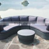 Half round rattan outdoor furniture sofa with coffee table egg shape sofa