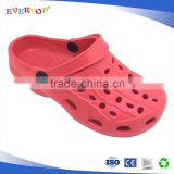 New model wholesale design solid printing with hole on upper kids eva red fashionable clogs
