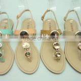 latest T-strap ladies basic fashion flat sandal with ring bling upper