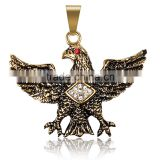 Jingli Jewelry Eagle shaped pendant, 316L stainless steel carved diamond-set golden pendant(GH-006)