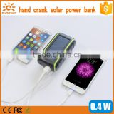 Hot Selling! New Dynamo Hand Crank Dual USB Cell Phone Emergency Solar Charger With Light