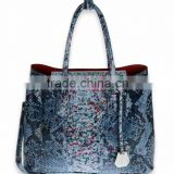 PAMELA #667 colorful snake printed leather-look fabric tote bag women snake leather handbag