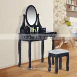 HOMCOM Dressing Table Set Makeup Mirror & Stool 3 Drawer - Black