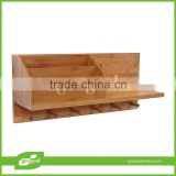 Bathroom accessory bamboo small floating wall shelf