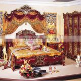 Antique Classic Red Color Solid Wood Wedding King Size Bed, Wedding Bedroom Furniture(MOQ=1 SET)
