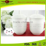 2015 high quality white ceramic mug /ceramic tea mug with cermai lid