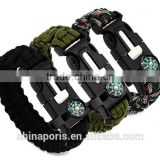 camping/travel/outdoor activity PARACORD BRACELET for emergercy with whistel and compass