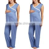 Top Selling Maternity Clothes Adult Summer Sleeveless Nursing Pyjamas Blue Lace Trim Casual Pajama Set For Party Costumes