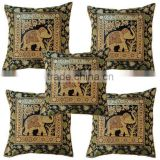 Bedding Decor Square Floor Elephant Design jacquard brocade throw Vintage Cushion case covers Tapestry 16x 16 inches.