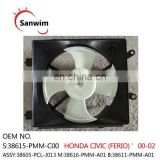 Fits 2000-2002 HON-DA CI-V-IC (FERIO) Cooling Fan Assembly Motor And Shroud ASSY:38605-PCL-J013 M:38616-PMM-A01 B:38611-PMM-A01