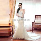 2014 New Design Mermaid Round Neckline Wedding Dress with Beading
