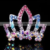 Fashion crystal Rhinestone baby kids princess Birthday party girl women hair comb gift tiara crown FZ-040 size 7*4.5
