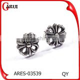 High Quality Micro Paved Big Black Mens Screw Black Earring