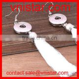 Vnistar interchangeable metal snap button jewelry earrings with white tassels wholesale NE011-2
