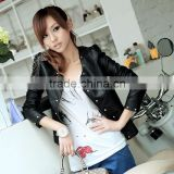 J0803061 European wild style jacket PU leather women fashion jackets for women 2014 ladies apparel in alibaba china
