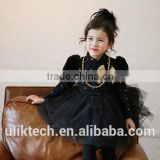 sweet 2015 kids velvet dress retro style lace dress black and white vintage princess skirt long sleeve princess dress100-140cm