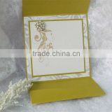 yellow pearl with label paper fold pocket royal printing wordings wedding invitation card