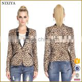 Winter Women Leopard Jacket Female Suit Slim Fit One Button Blazer With Shoulder Pad Coat