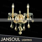 zhongshan traditional cheap vintage 2 lights brass wall lamp lighting fixtures mounted crystal chandelier for bathroom