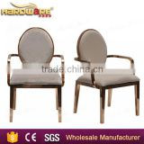 rose gold design stainless steel wedding banquet dining chairs with arms                                                                         Quality Choice